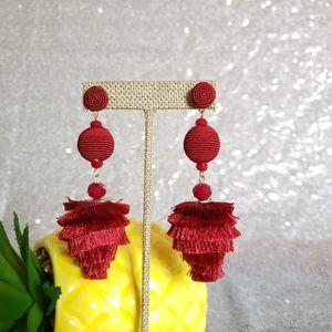Long tassel earrings, women's  statement earrings